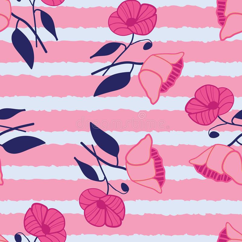 Abstract stylized poppies seamless vector pattern. Bright floral print. Pink, salmon, blue and grey. royalty free illustration