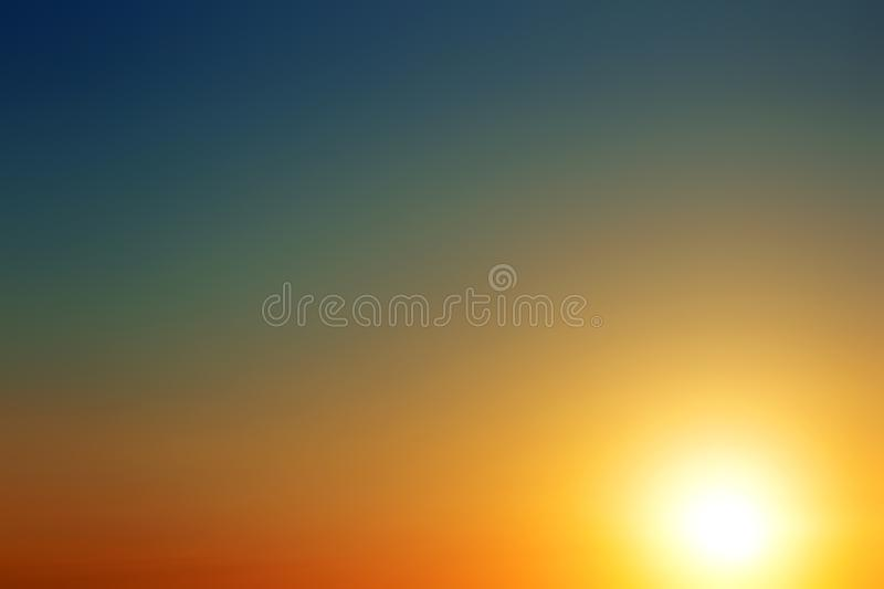 Abstract summer background with the setting sun over the sea. Colorful sunshine texture pastel landscape natural sky blurred beautiful nature wallpaper happy royalty free stock image