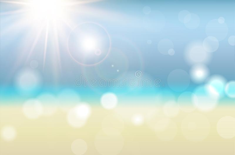 Abstract summer background with sun rays and blurred bokeh vector illustration