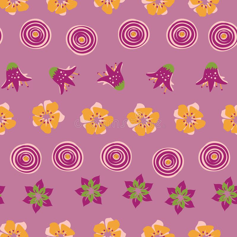Abstract summer flowers on a pink background. Perfect for scrap booking ,textile and home decor projects vector illustration