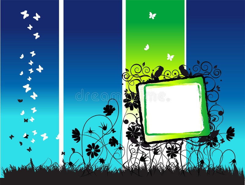 Download Abstract Summer Frame, Flowers And Butterflies Stock Illustration - Illustration: 4596862