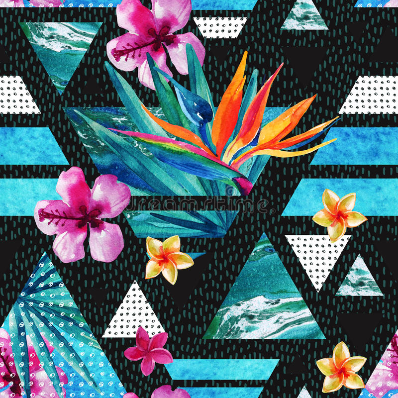 Abstract summer geometric seamless pattern with exotic flowers stock illustration