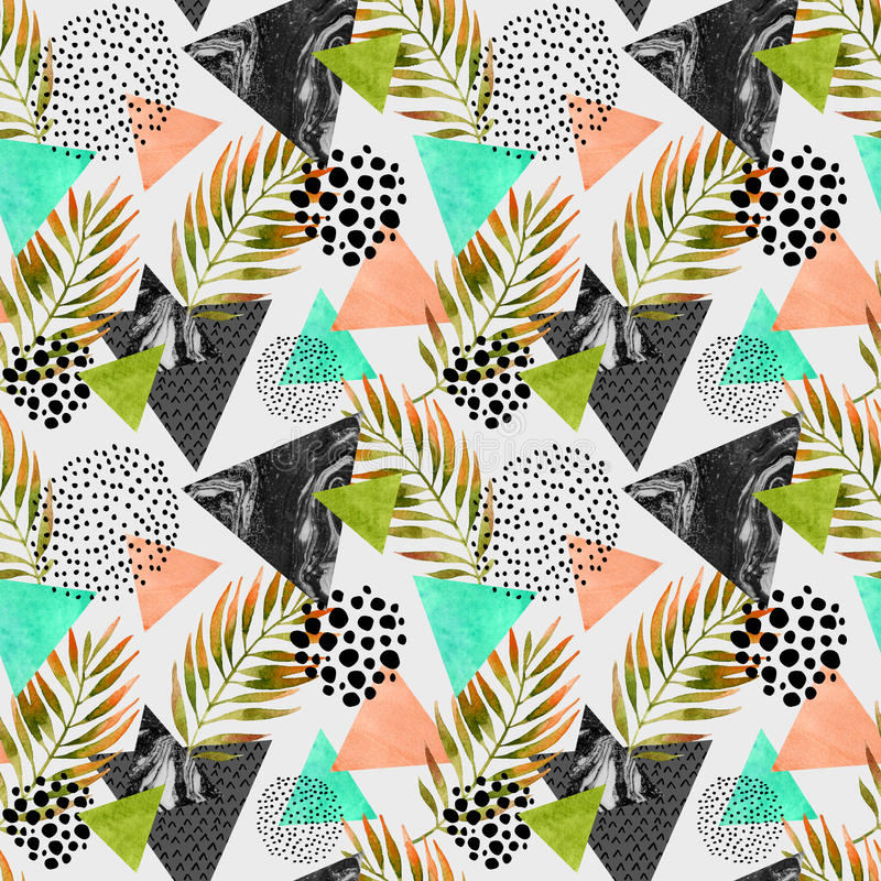 Abstract summer geometric seamless pattern. Triangles with palm leaf and marble grunge textures. Abstract geometric background in retro vintage 80s 90s pop art