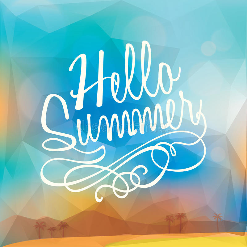 Abstract Summer holiday polygon poster background royalty free illustration