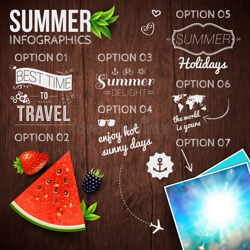 Abstract summer infographics poster with watermelon, strawberry, blackberry, shining sun card. Wooden background. Poster for. Summer holidays. Vector stock illustration