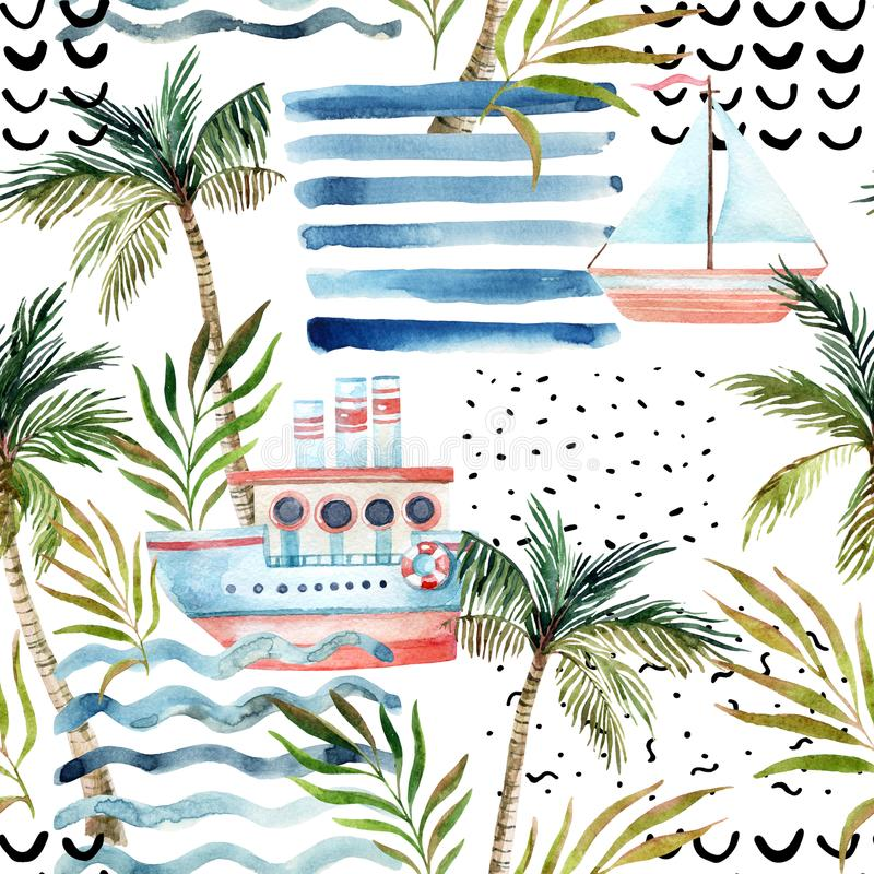 Watercolor sailboat, ship, palm tree, leaves, grunge textures, doodles, brush strokes. stock illustration