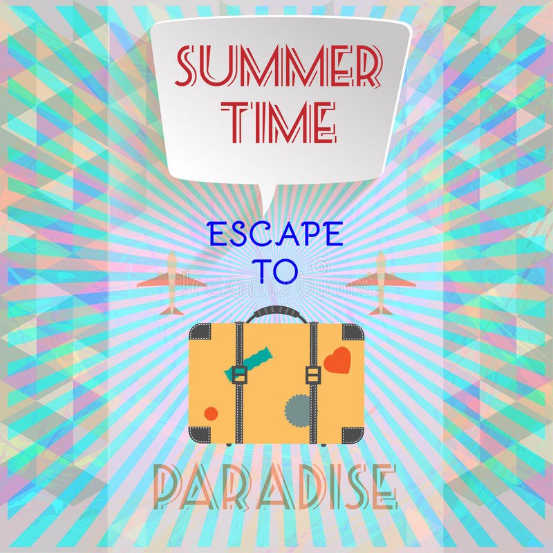 Abstract summer time infographic, with book now and escape to paradise text, planes and travel accessories royalty free illustration