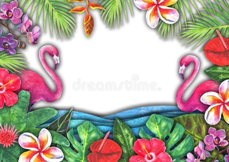 Abstract summer watercolor sea wave, sand beach, tropical plants, pink flamingo background royalty free stock images