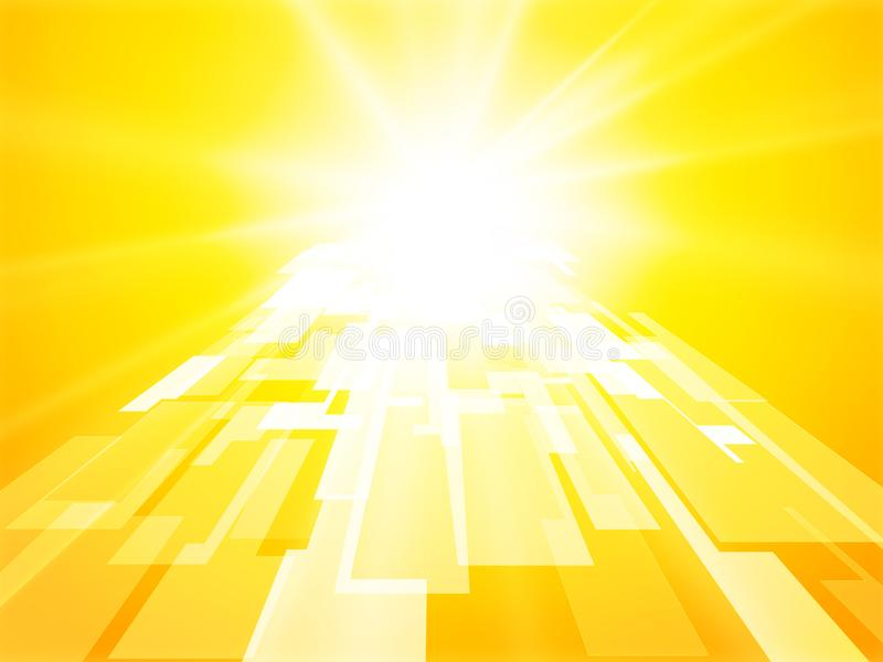 Abstract sun gate yellow perspective geometric background vector illustration