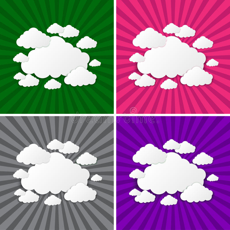 Abstract sun rays with clouds background. Clouds on a background of the sun rays vector illustration