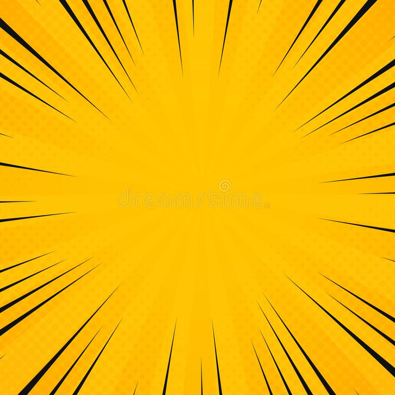 Abstract sun yellow color in radiance rays pattern with comic black line background. Decoration for poster texting, banner art vector illustration