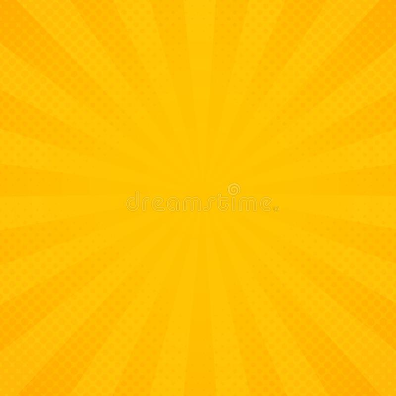 Abstract sun of yellow and orange radiance rays pattern background stock illustration