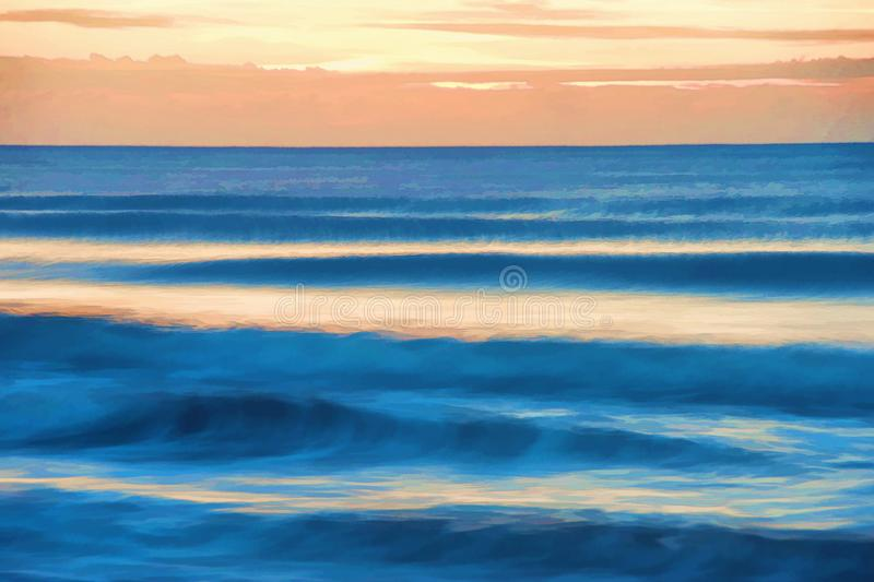Abstract of a Sunrise in Myrtle Beach South Carolina. Sunrise over the Atlantic Ocean horizon in Myrtle Beach South Carolina. Abstract digital art generated from stock photography