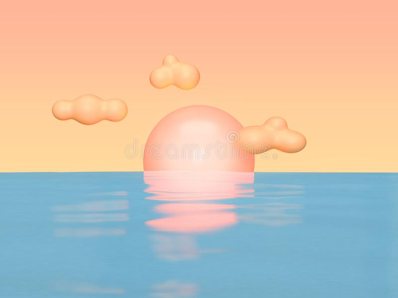 Abstract sunset blue water reflection light orange sky and cloud cartoon style 3d render. Ing vector illustration