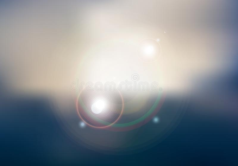 Abstract sunset or sunrise sky and sun shining blurred background with flare vector illustration
