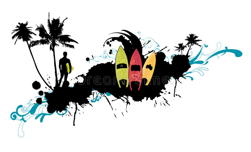 Abstract surfboard 1 royalty free illustration
