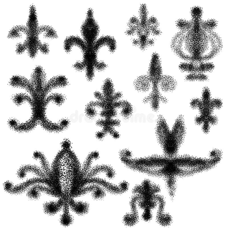 Abstract swirl doodles. Set of eleven hand drawn doodles in black of Fleur de lis signifying perfection light and life stock illustration