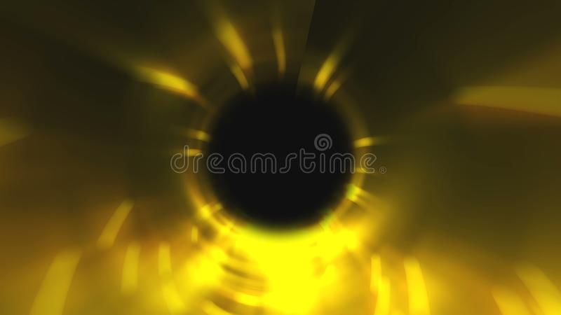 Abstract swirl gold tunnel in space, computer generated background, 3D rendering background. Abstract swirl gold tunnel in space, computer generated background stock photography