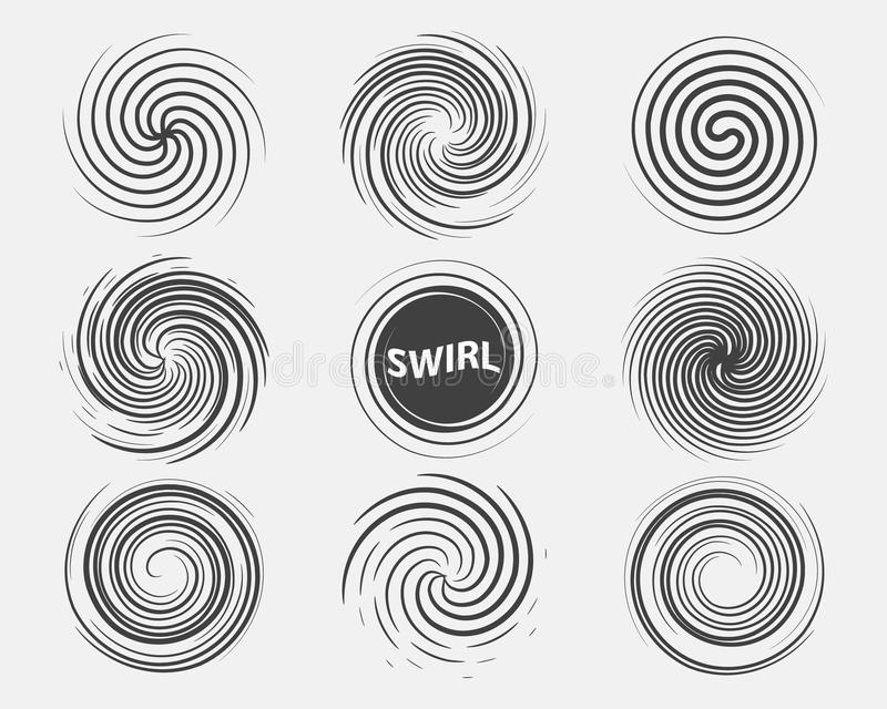Abstract swirl set dynamic flow black white icon. Vector illustration vector illustration