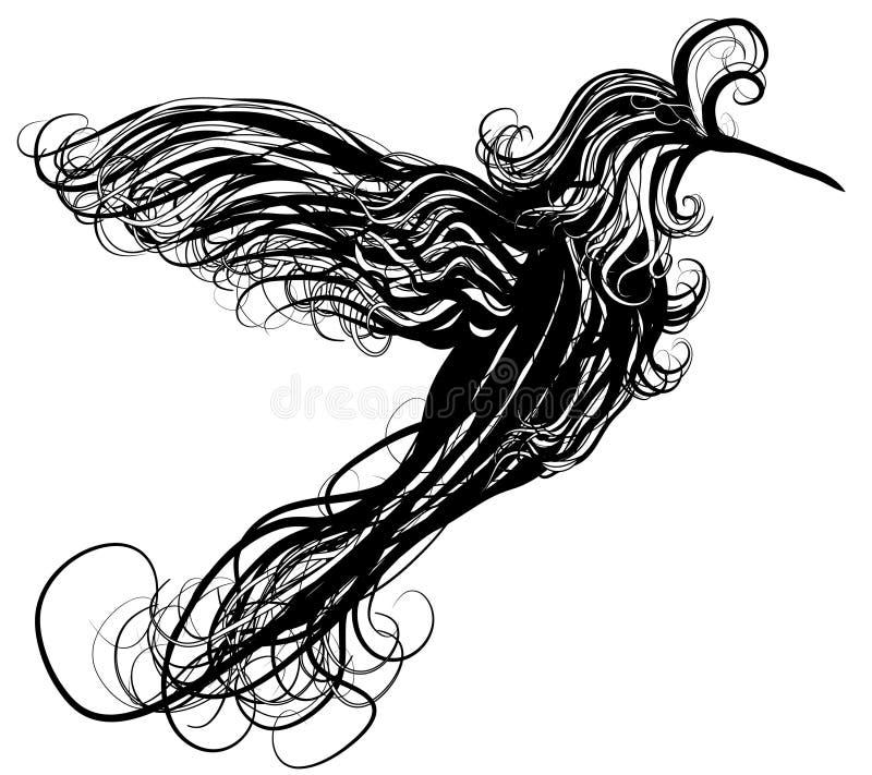 Abstract swirling humming bird illustration stock illustration