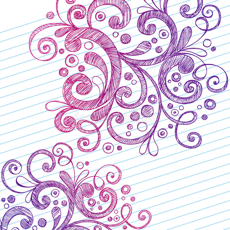 Abstract Swirls Sketchy Notebook Doodles vector illustration