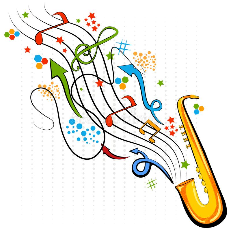 Abstract swirly musical background with Saxophone music instrument stock illustration