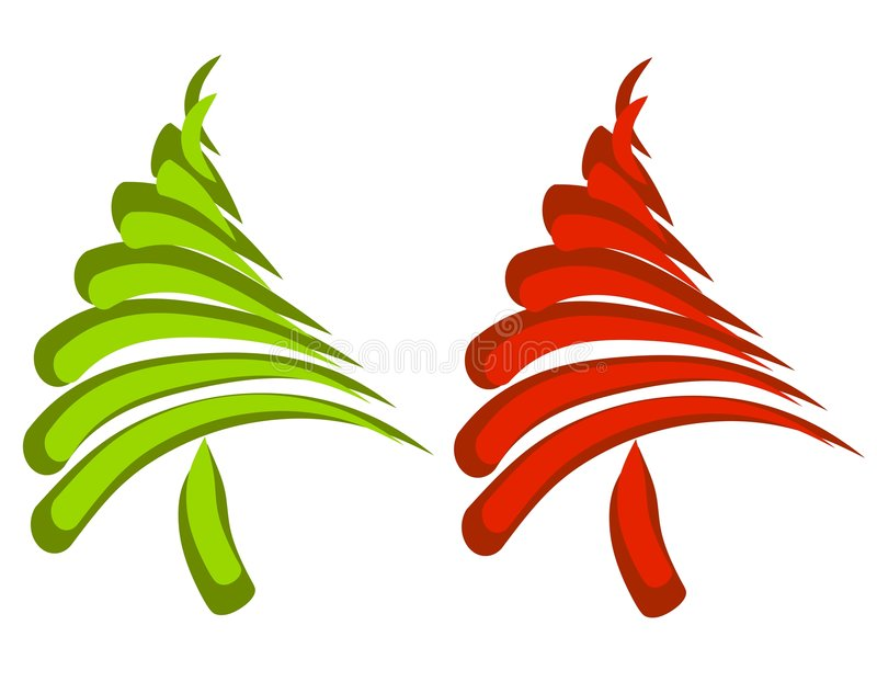 Abstract Swoosh Christmas Trees vector illustration