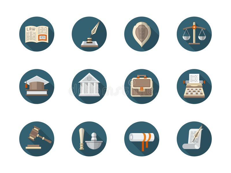 Law firm flat round icons set. Abstract symbol of law firm. Court and lawyer service, jurisprudence, legal advice. Collection of stylish round flat color icons royalty free illustration