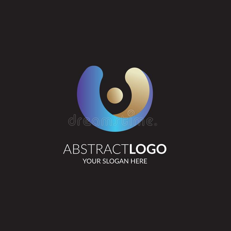 Abstract symbol logo in blue color gradient color. Template for your design. Abstract symbol logo in blue color gradient . Template for your design stock illustration