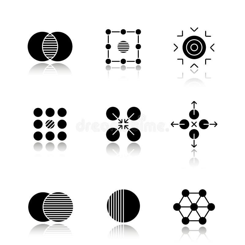 Abstract symbols drop shadow black glyph icons set 皇族释放例证