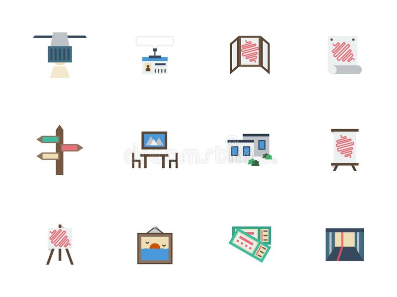 Trade Show Rooms Color Icons Set Stock Illustration Illustration