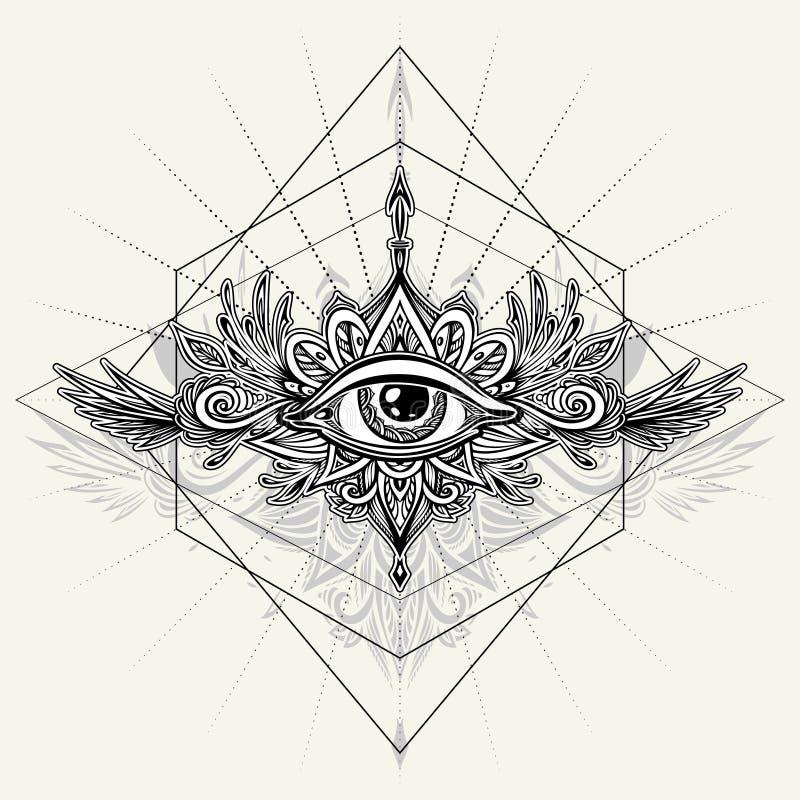 Abstract symbool van alle-Ziet Oog in Boho-stijl voor tatoegeringszwarte op wit royalty-vrije illustratie