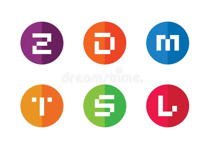 Abstract Symbool van Brief Z, D, M, T, S, L Reeks van Alfabet Logotype Logo Icons stock illustratie