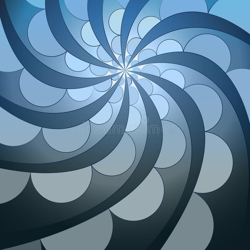 Abstract symmetric blue swirl blossom shape