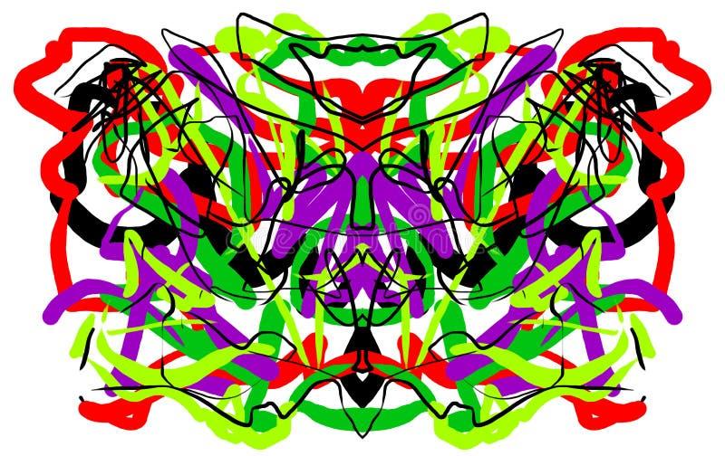 Abstract symmetric painting Rorschach test inkblot.  stock illustration