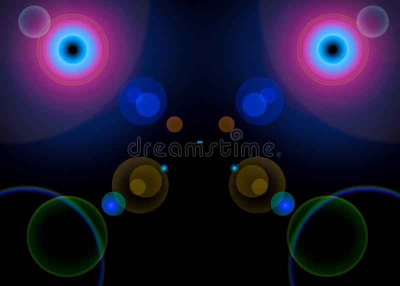 Abstract symmetrical flares on a dark background royalty free stock photo