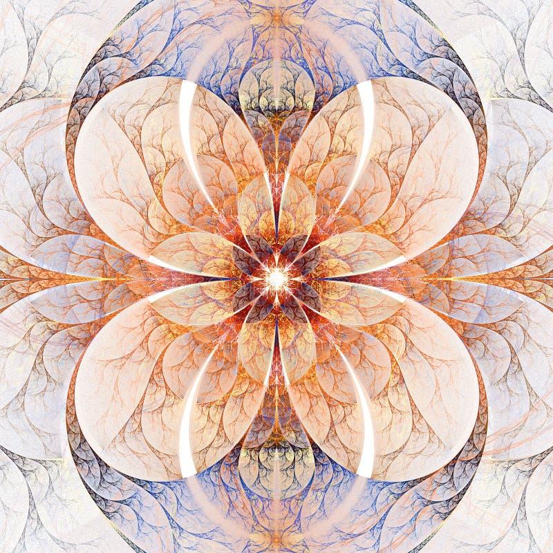 Abstract symmetrisch bloemenornament op witte achtergrond vector illustratie