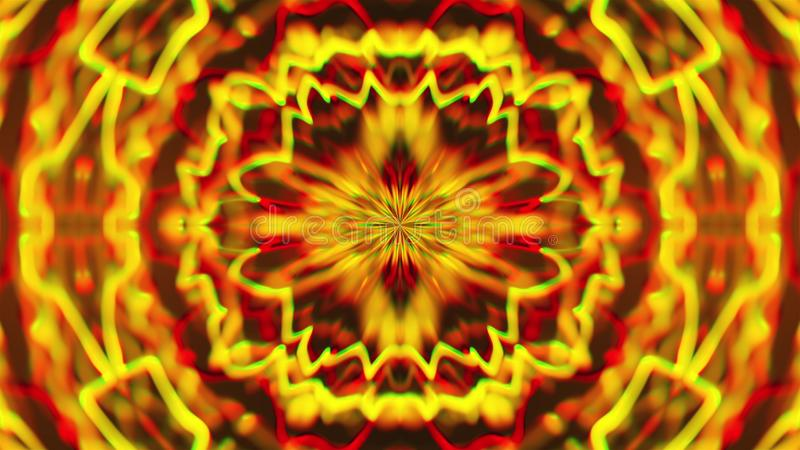 Abstract symmetry kaleidoscope like Mandala ornament, 3d rendering backdrop, computer generating. Background royalty free illustration