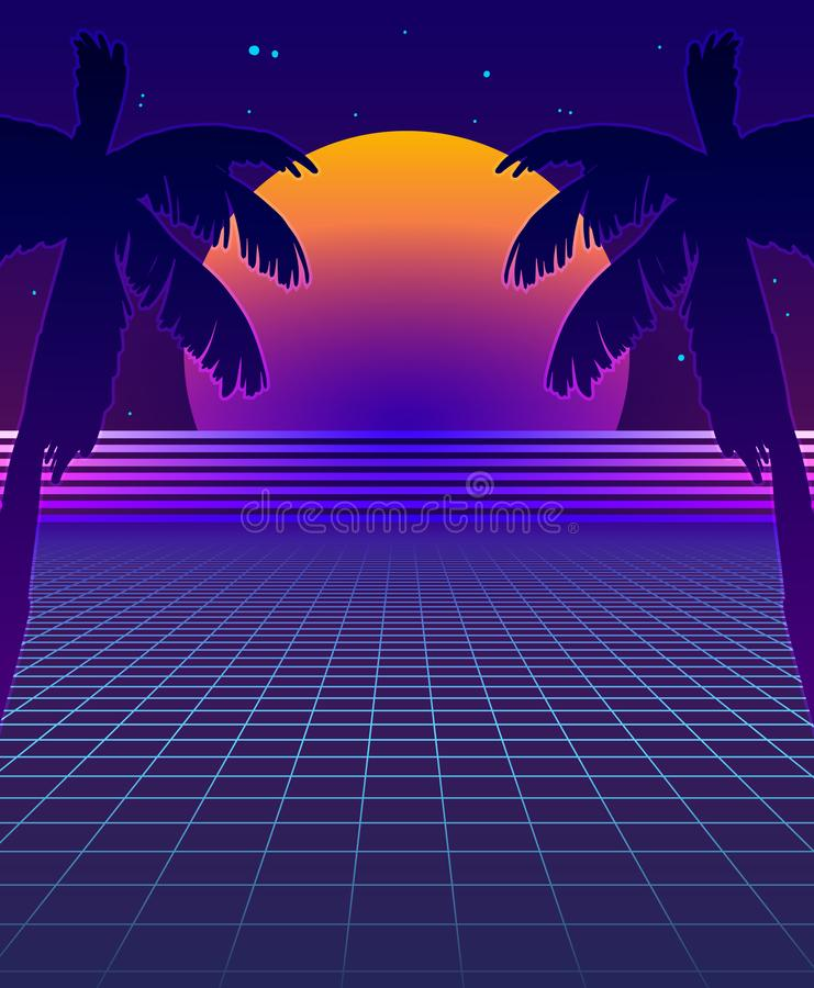 Abstract Synthwave Background with Neon Glowing Grid, Futuristic Backdrop in Retro Style with Palm Trees and Full Moon. Club Party stock illustration