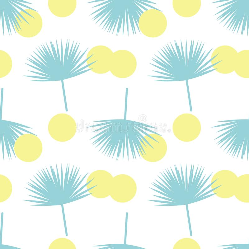Abstract talipot pattern. Vector tropical palm with yellow circles. Seamless pattern on the theme of summer royalty free illustration