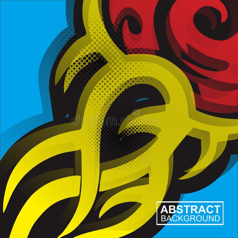 Abstract tatto stripes background red, yellow and blue vector illustration