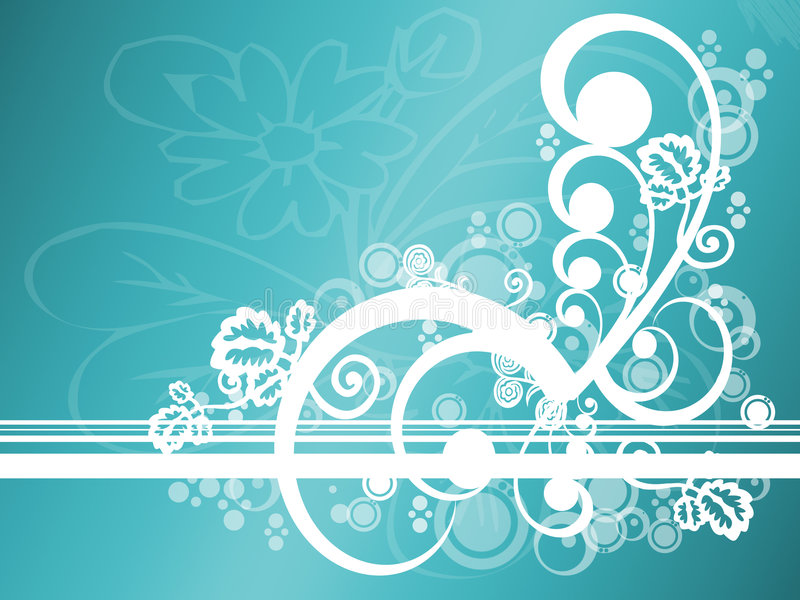 Abstract Teal Floral royalty free illustration