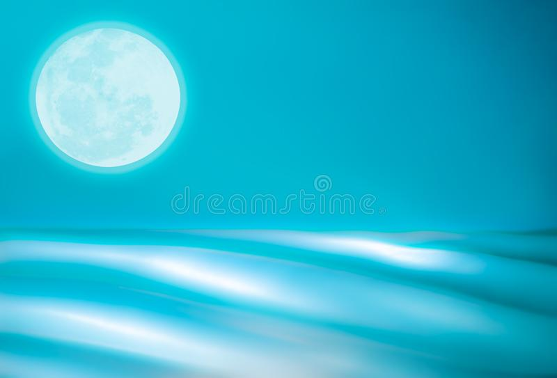 Abstract Teal Ocean with Full Moon