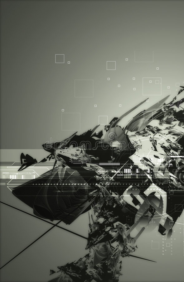 Abstract tech background 2. Abstract tech background,futuristic space ship ruin & scan lines