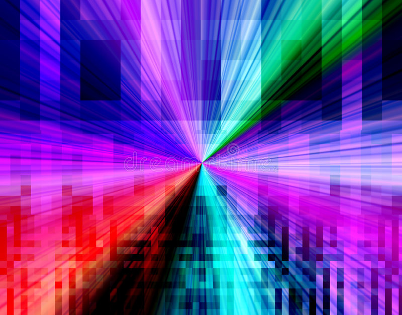 Abstract tech design backgroun. Colorful vivid technology connections in a mosaic style abstract burst background design stock illustration