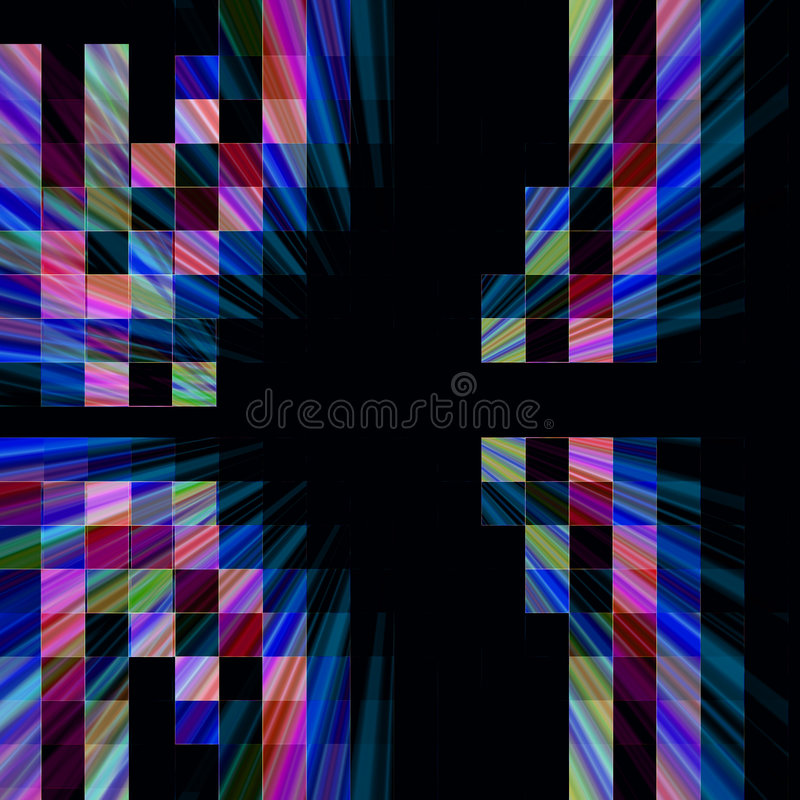 Abstract tech design background. Colorful mosaic pixel style cubes on black for a business technology connections burst abstract background design stock illustration