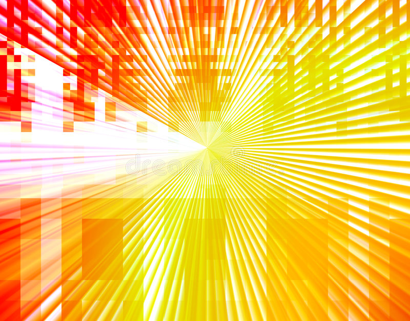 Abstract tech design background. Bright colors of orange, yellow, and red vivid tones in a technology connections mosaic style abstract burst background design royalty free illustration