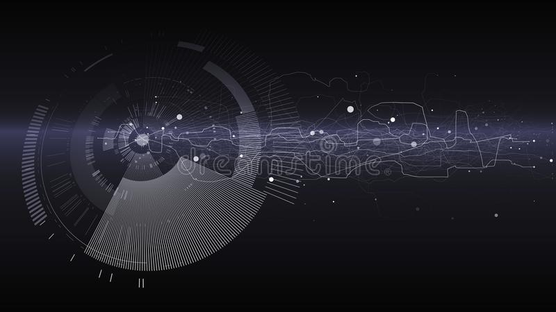 Abstract tech design background. Engineering technology wallpaper made with lines, dots, circles. Futuristic technology interface. On dark background. Digital stock illustration