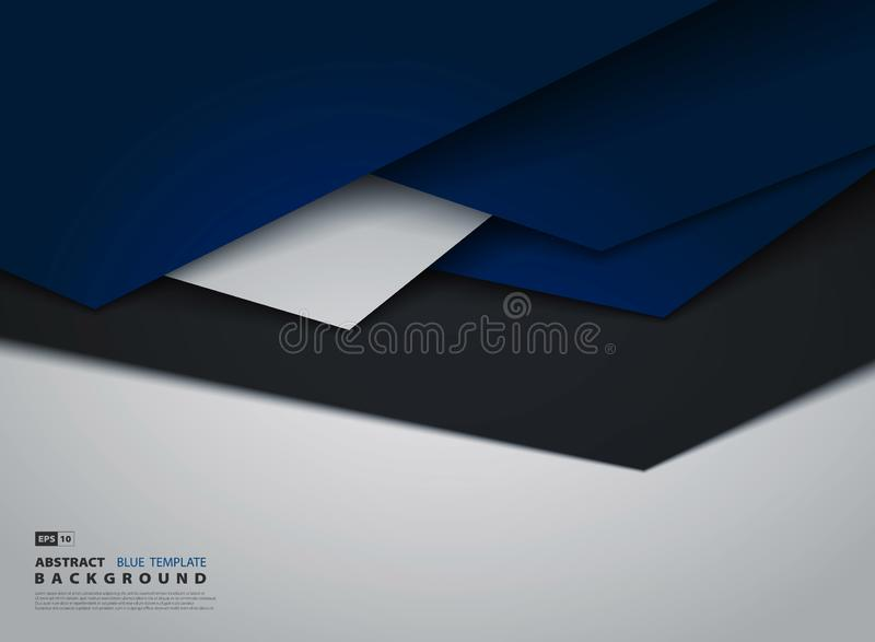 Abstract tech gradient blue overlap of business tone design royalty free illustration