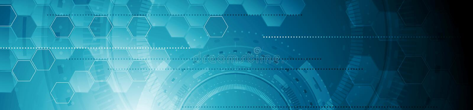Abstract tech industrial geometric web header banner royalty free illustration